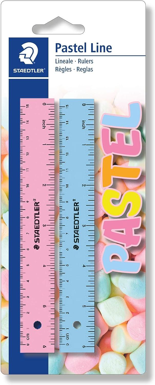 STAEDTLER 56215PSBK2ST, Reglas de Plástico de 15 Centímetros de Longitud, Blíster con dos Reglas, colores surtidos: Amazon.es: Oficina y papelería