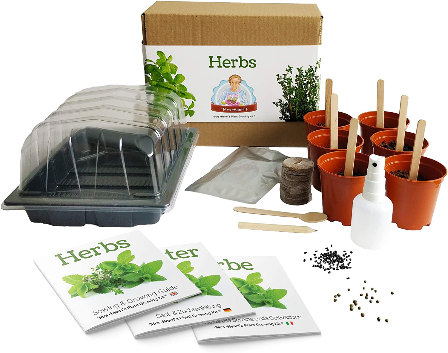 Hierbas - Mrs Henris Plant Growing Kit. Cultiva 6 hierbas ...
