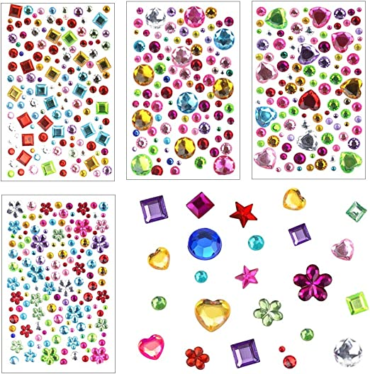 3D Gem Stickers childrens arts /& crafts cards scrapbooking