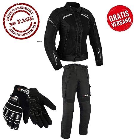 DAMEN MOTORRADKOMBI JACKE + HOSE + HANDSCHUHEN BIKE MOTORRAD ROCKER TOURING (M)
