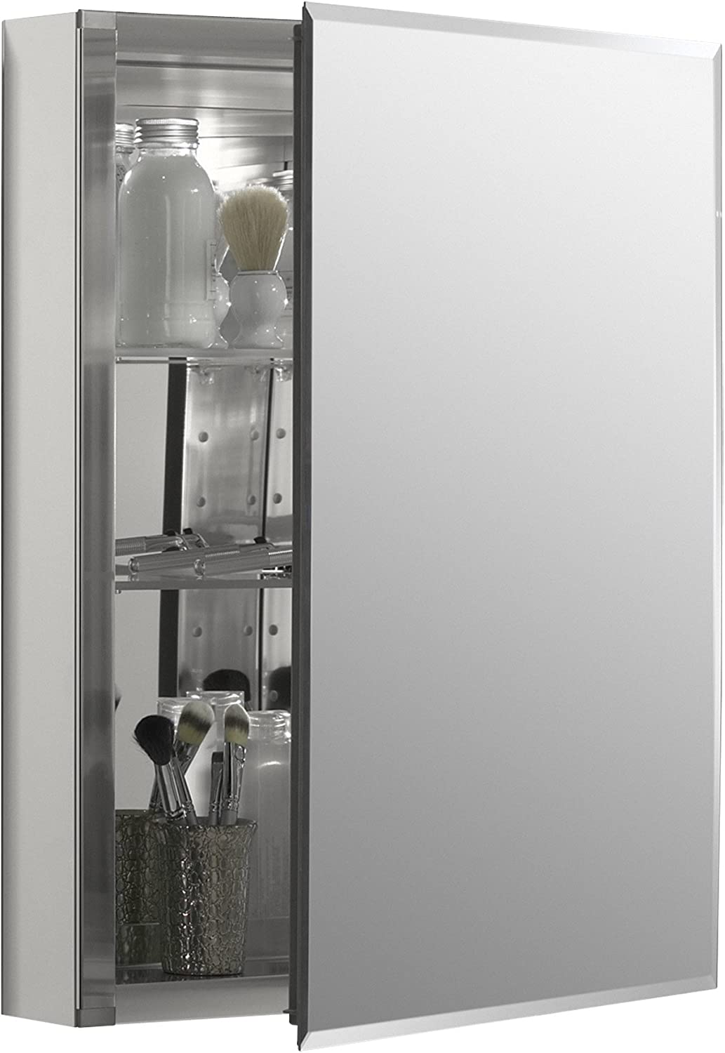 Frameless 20 Inch X 26 Inch Aluminum Bathroom Medicine Cabinet; ; Recess Or Surface Mount