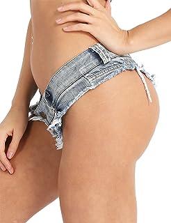 6e6547060e9827 iixpin Damen Bikinihose Beachshort Hotpants Jeansshorts Denim Shorts  Destroyed Style Jeans Hose Slip Hipster S M L