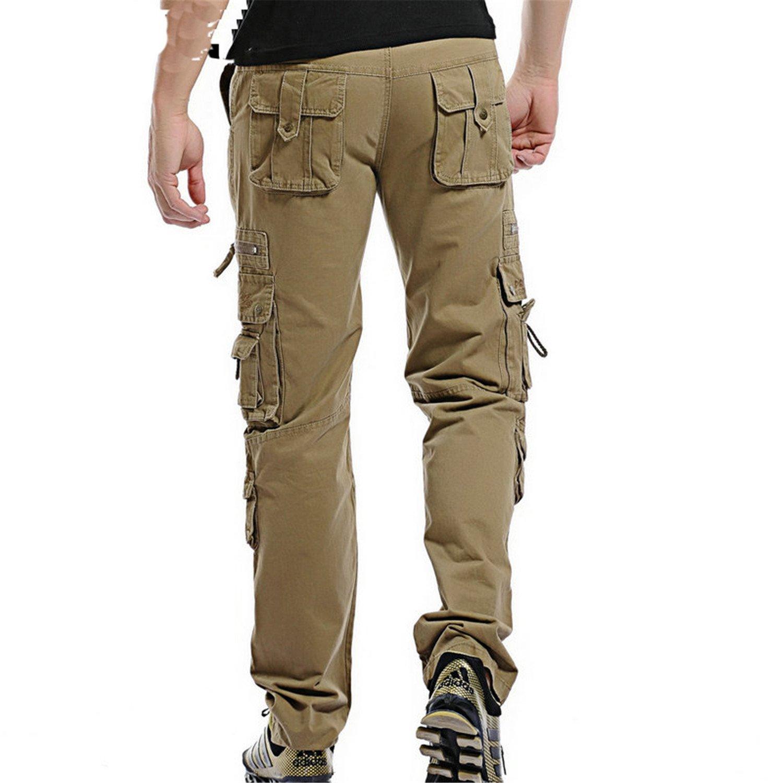 Cheryl Bull Fashion Solid Cotton Cargo Pants Men Casual Men Trousers Size 28-38