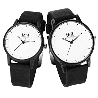 His And Hers Watch Sets >> Menton Ezil Classic His And Hers Couples Matching Watch Leather Band Quartz Wrist Watches For Women And Men Set Of 2