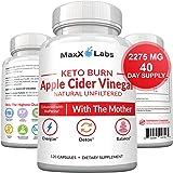 Apple Cider Vinegar Capsules with Mother + Keto BHB - 2275mg of Unfiltered, Pure, Natural, Detox ACV Keto Burn Formula…