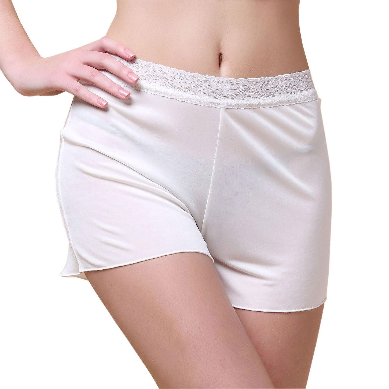 Paradise Silk Women's Silk Knit Lacy Waistband Boy Leg Legging Shorts SKWLG15427