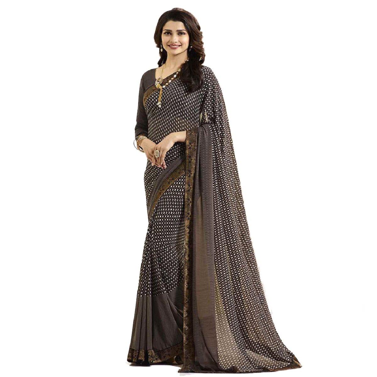 177d84bb31 Gazal Fashions Brown Chiffon Saree(GZL01SRI540): Amazon.in: Clothing &  Accessories