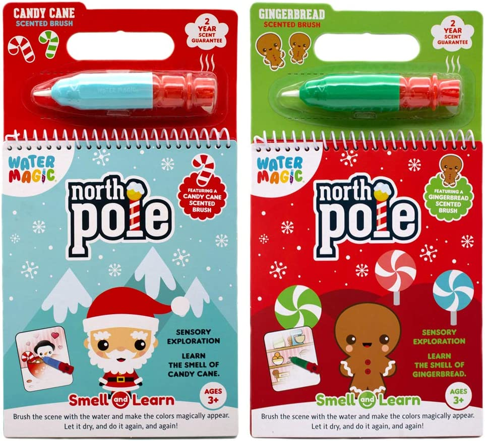 Reusable Water Reveal Activity Books Scentco Water Magic 2-Pack Candy Cane /& Gingerbread Scents