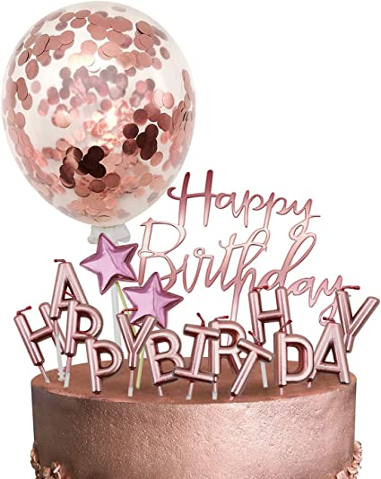 Rose Gold Birthday Cake Topper Birthday Anniversary Party Cake Candle Decoration
