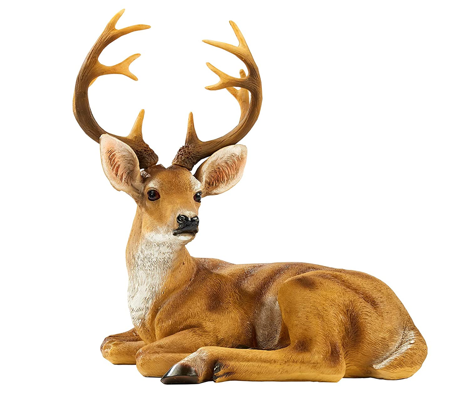 JHVYF Small Buck Statuary 12 Point Resin Deer Statue Garden Lying Sculptures Cabin Animal Figurines Lodge Art Décor for Indoor Outdoor Home Or Office