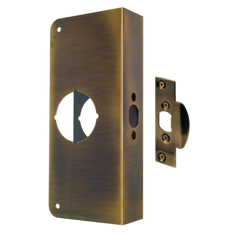 Prime-Line MP9431 Lock & Door Reinforcer, 1-3/4 in. x 2-3/8 in, Solid, Antique Brass Finish, Pack of 1