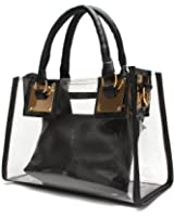 OURBAG Women Clear Top Handle Bags PVC Waterproof Shoulder Bag with Cosmetic Bag