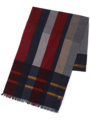Ships Cotton Plaid Scarf 118-30-0024: Burgundy