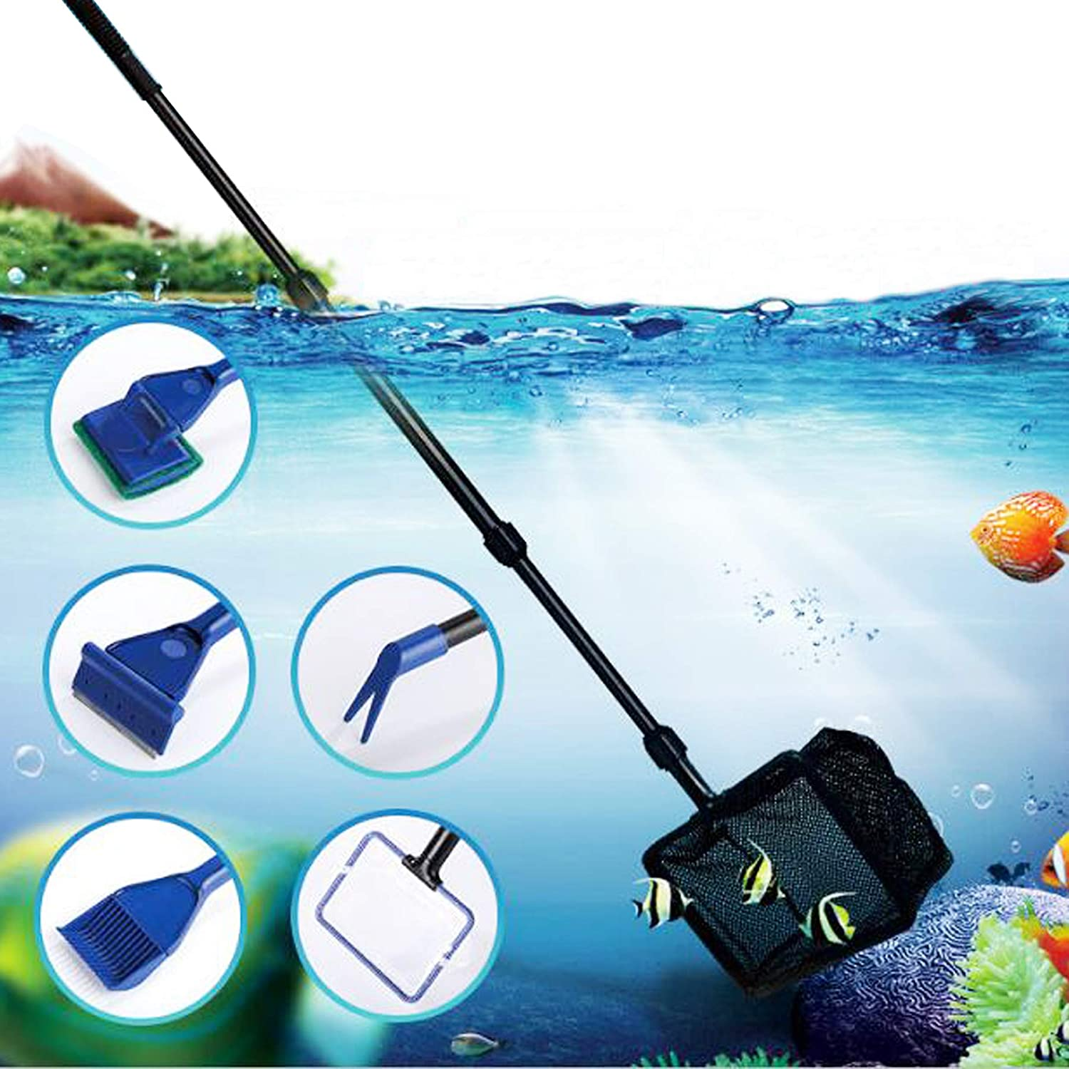 Gravel Cleaning Long Nozzle and Tank Clip for Water Changing and Sand Cleaner N A Cayway 5 Pack Aquarium Fish Tank Clean Tools Algae Scrapers Set Aquarium Gravel Cleaner with Flow Controller