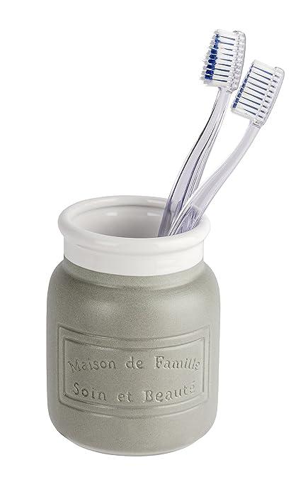 Wenko Maison Vaso para Cepillos de Dientes Cerámica, Gris 9x9x10.5 cm