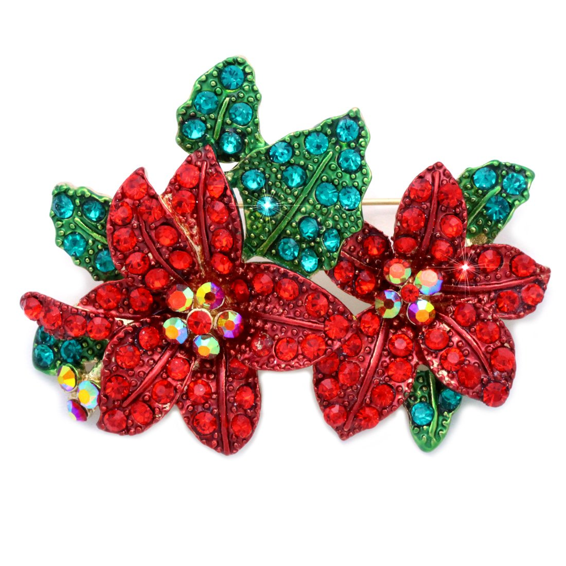 cocojewelry Christmas Poinsettia Red Green Crystal Pin Brooch Holiday Jewelry (Gold-tone)