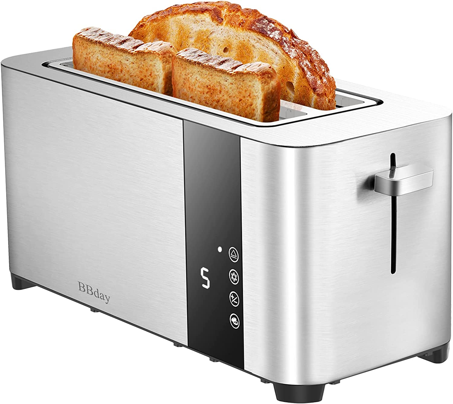 BBday Long Slot Toaster, 4 Slice Extra Wide Slots Stainless Steel Toasters,with LCD Display Touchscreen ,6 Bread Shade Settings, Defrost/Bagel/Cancel, Removable Crumb Tray, 1300W,Silver