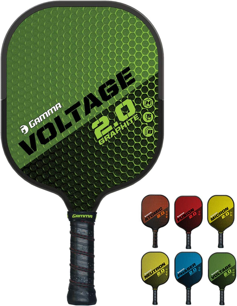 GAMMA Sports 2.0 Voltage Pickleball Paddle: Mens and Womens Textured Graphite Face Pickle-Ball Racquet - Indoor and Outdoor Racket: Green, ~7.6 oz : Sports & Outdoors