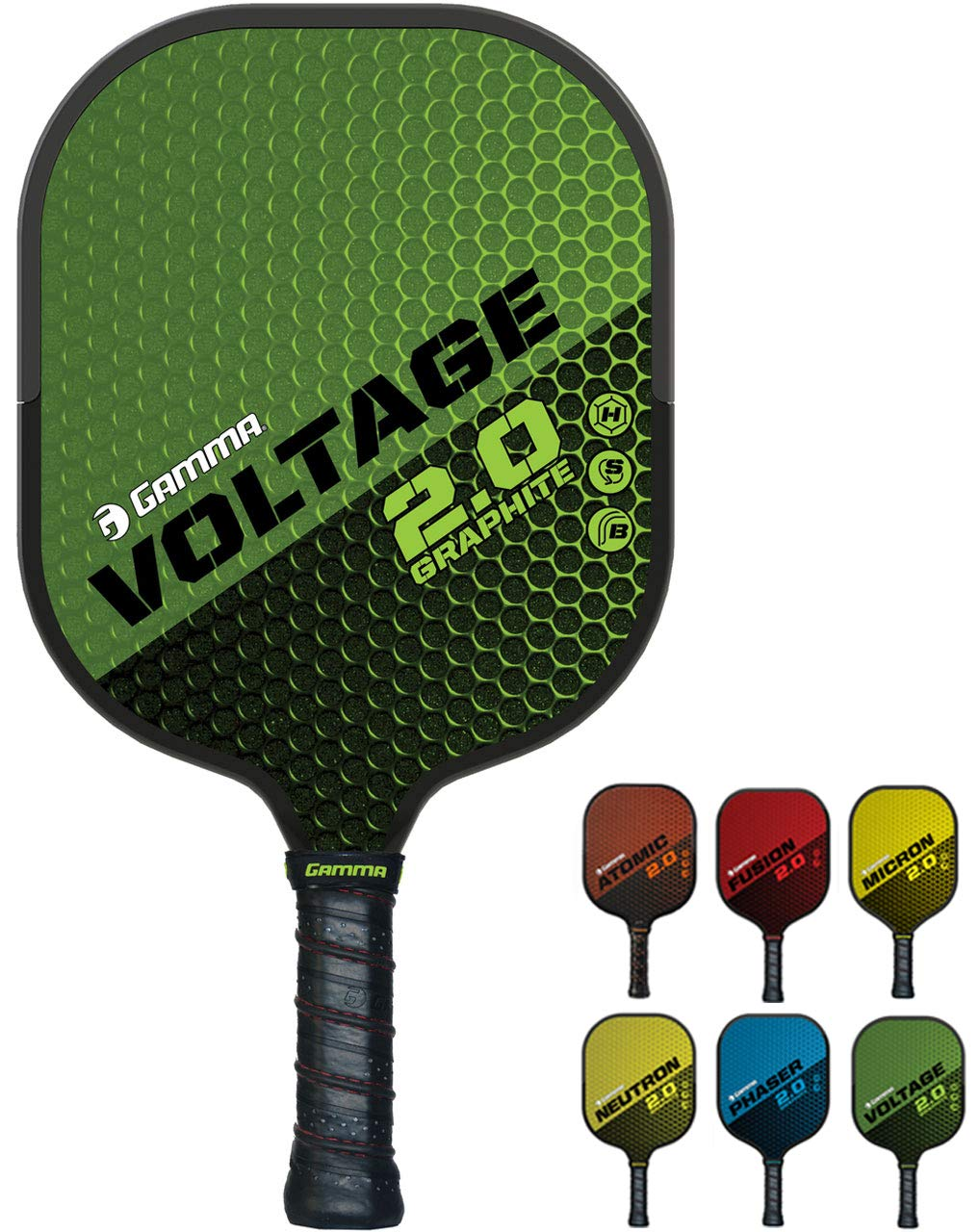 GAMMA Sports 2.0 Pickleball Paddles: Voltage 2.0 Pickleball Rackets - Textured Graphite Face - Mens and Womens Pickle Ball Racquet - Indoor and Outdoor Racket - Green Pickle-Ball Paddle - 7.6 oz by Gamma