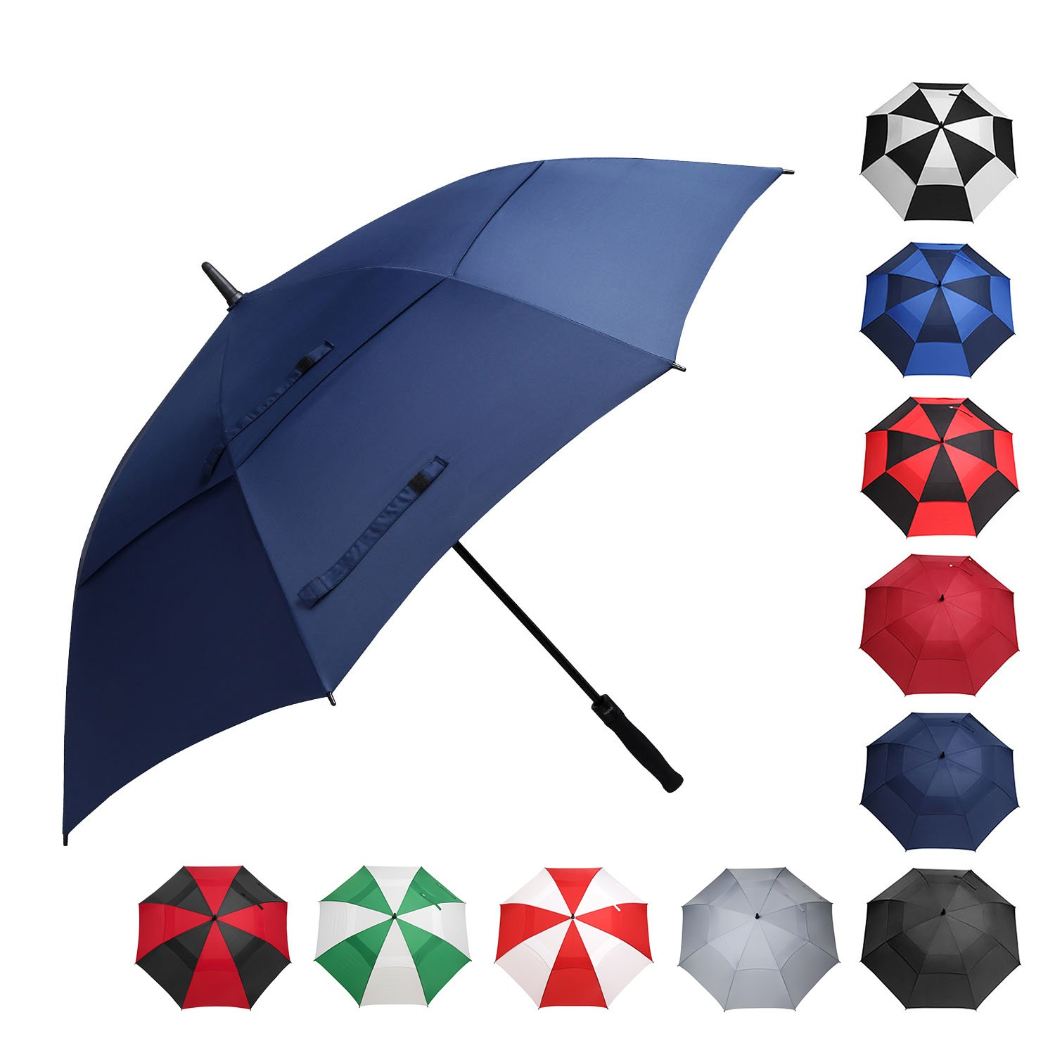 BAGAIL Golf Umbrella 68/62/58 Inch Large Oversize Double Canopy Vented Windproof Waterproof Automatic Open Stick Umbrellas for Men and Women (Double Navy, 62 inch) by BAGAIL