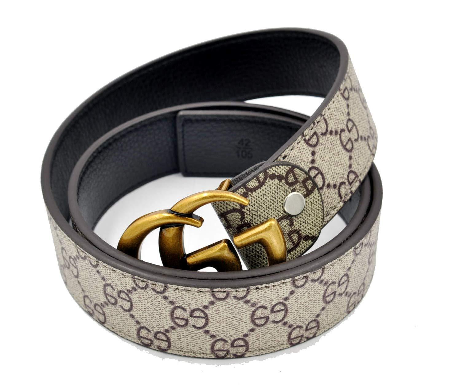 Unisex Men Women Fashion GG Leather Copper Style Buckle Resizeable Belt (125CM [Waist 35''-40''], Brown Belt)