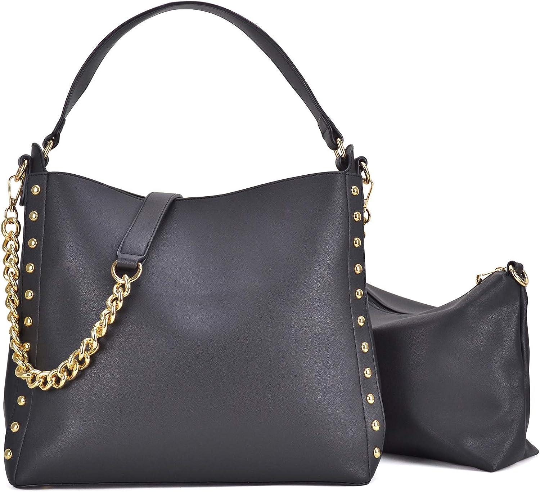 Studded Classic Hobo Shoulder Handbag by Handbags For All