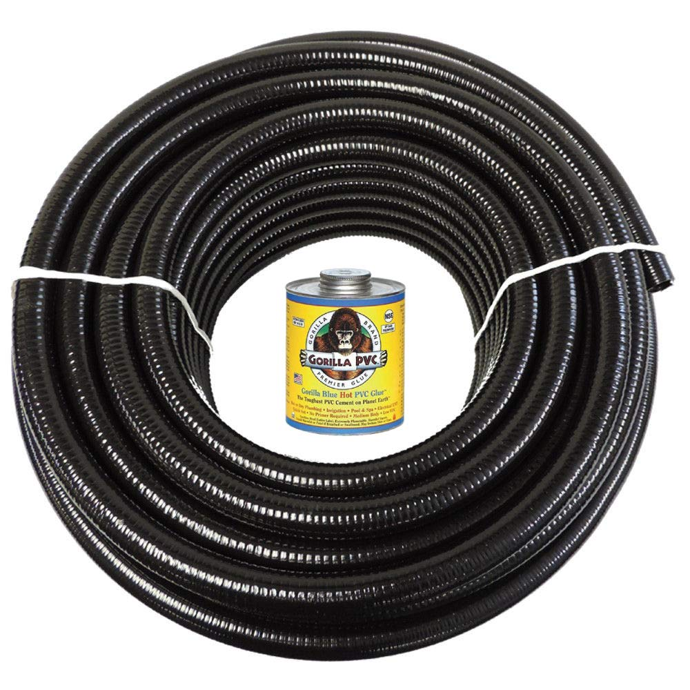 HydroMaxx (2'' Dia. x 10 ft Black Flexible PVC Pipe, Hose and Tubing for Koi Ponds, Irrigation and Water Gardens. Includes Free 4oz Can of Hot Blue PVC Gorilla Glue by HydroMaxx