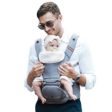 ae8065ad4d8 Bebamour Baby Carrier Hip Seat 6 in 1 Clasical Baby Carrier Backpack 0-36  Months with 3PCS Baby Drool Bibs