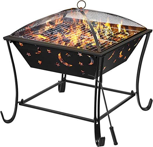 Finether Outdoor Fire Pit 24 Metal Fire Bowl BBQ Grill with Mesh Spark Screen Cover, Patio Backyard Beach Picnic Camping etc.