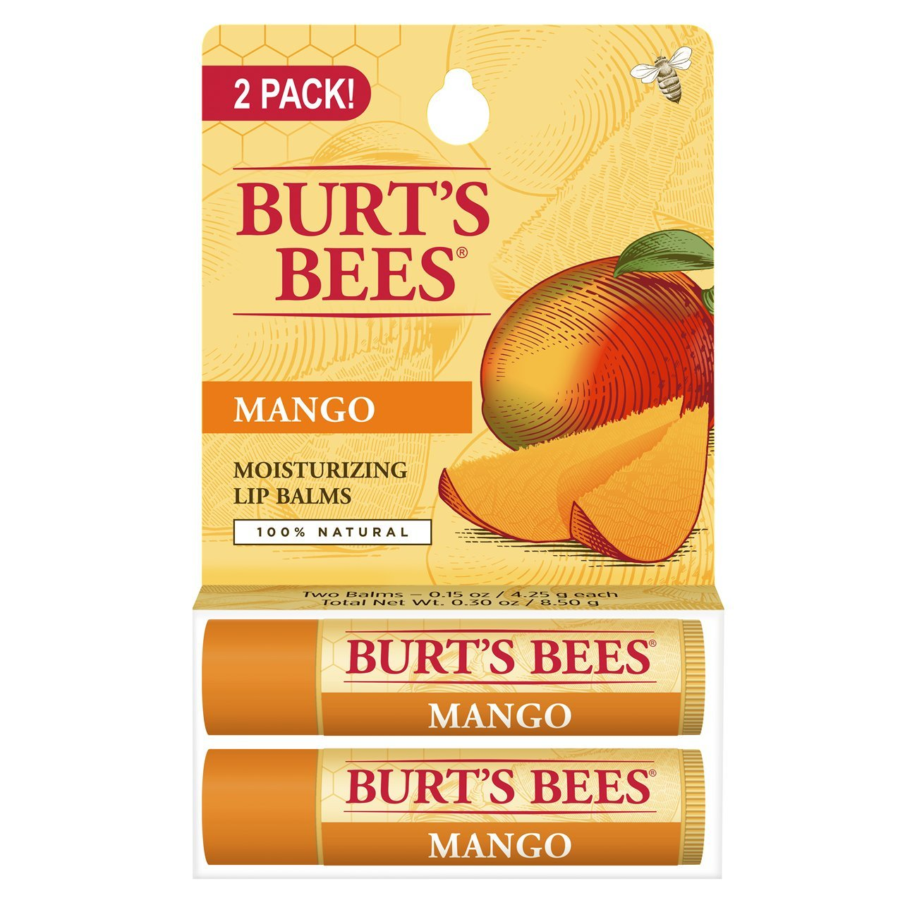 Burt's Bees 100% Natural Moisturizing Lip Balm, Mango with Beeswax & Fruit Extracts - 2 Tubes