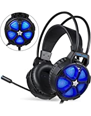 Auriculares Gaming PS4, [2019 Versión] EasySMX Cascos Gaming, Auriculares Estéreo con Micrófono