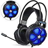 EasySMX Comfortable Gaming Headset, for Xbox One Slim PS4, PC, [2019 Newest] Cool 2000 Over Ear Stereo Gaming Headphone with Mic, LED Light, for Computer Laptop Nintendo Switch