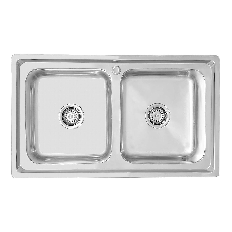 ENKI Stainless Steel 2.0 Double Bowl Square Inset Topmount Kitchen Sink