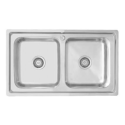 ENKI Lavello a incasso 2 vasche quadrate acciaio inox: Amazon.it ...