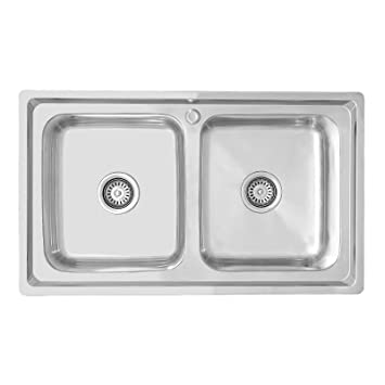 ENKI Lavello a incasso 2 vasche quadrate acciaio inox: Amazon.it ...