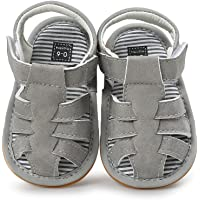 TMEOG Baby Boys Girls Sandals PU Leather Rubber Sole Non-Slip Toddler Summer Shoes