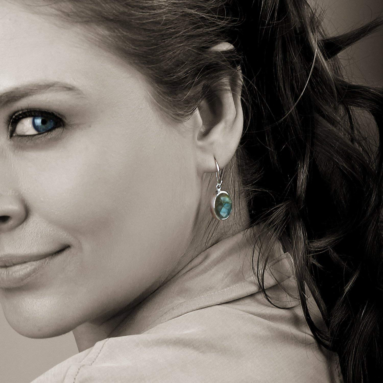 925 Sterling Silver Handmade Designer Drop /& Dangle Earring Jewelry Length 1.5 ae1560 Labradorite Oval Shape Gemstone Charm Earring