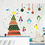 Christmas Wall Stickers,Ikevan PVC Decal Removable Art Christmas Tree Penguins Wall Stickers Window Glass Door Decoration Wall Sticker 60X90cm