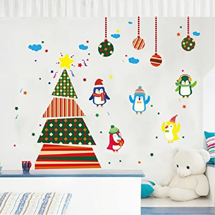 Christmas Wall Decals Removable.Christmas Wall Stickers Ikevan Pvc Decal Removable Art Christmas Tree Penguins Wall Stickers Window Glass Door Decoration Wall Sticker 60x90cm