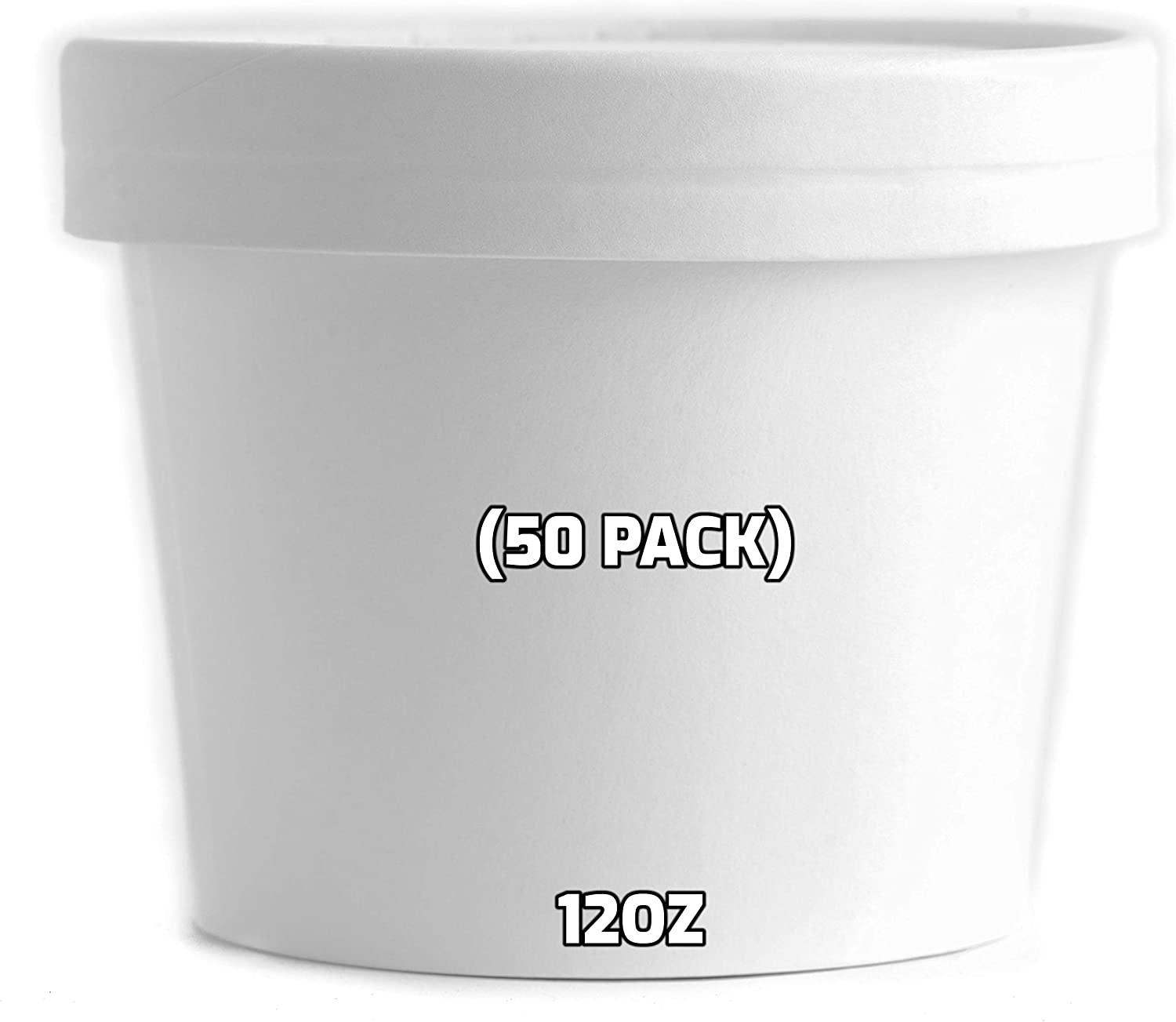 12 oz Disposable White Paper Soup Containers [50 Count] - Half Pint Ice Cream Containers, Frozen Yogurt Cups, Restaurant, Microwavable, Take Out, to Go Deli Containers, Recyclable