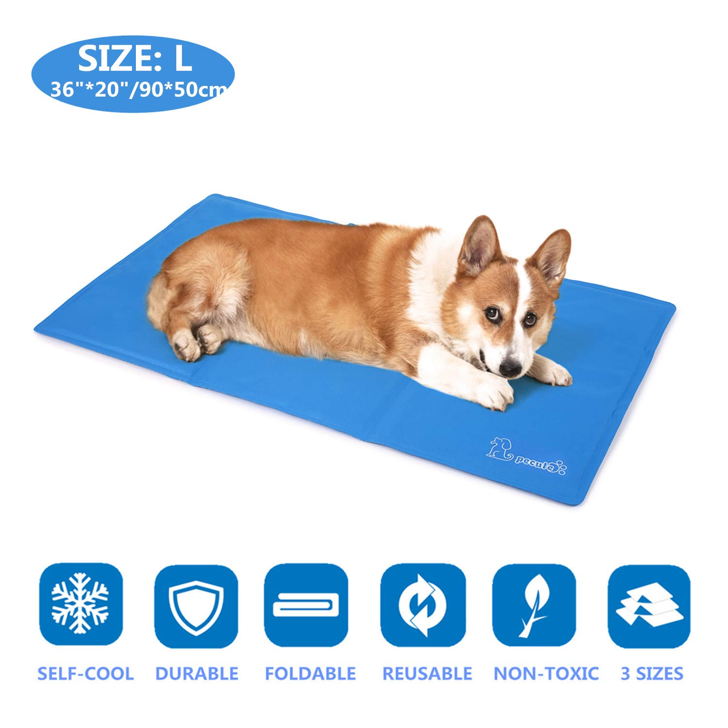 Pecute Dog Cooling Mat Large 90x50cm, Durable Pet Cool Mat Non-Toxic Gel Self Cooling Pad, Great for Dogs Cats in Hot Summer