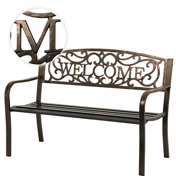 "50"" Patio Garden Bench Park Yard porch chair – The Outdoor Bench with a ""Welcome"" Panel Designation"