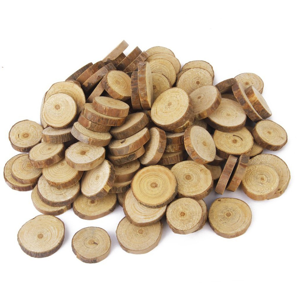 Fenical 100pcs 3CM Wood Log Slices Discs for DIY Crafts Wedding Centerpieces