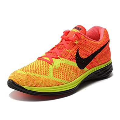 Nike Men s Flyknit Lunar3 Running Shoes Hot LavaBlackVolt