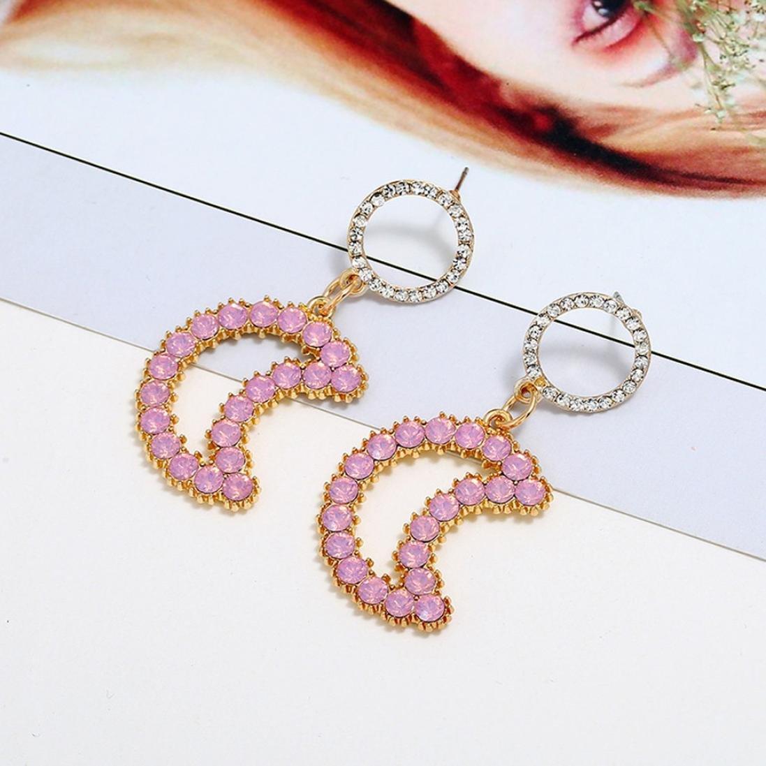 Womens Earrings ManxiVoo Rhinestone Moon Dangle Drop Ear Stud Earrings for Girls