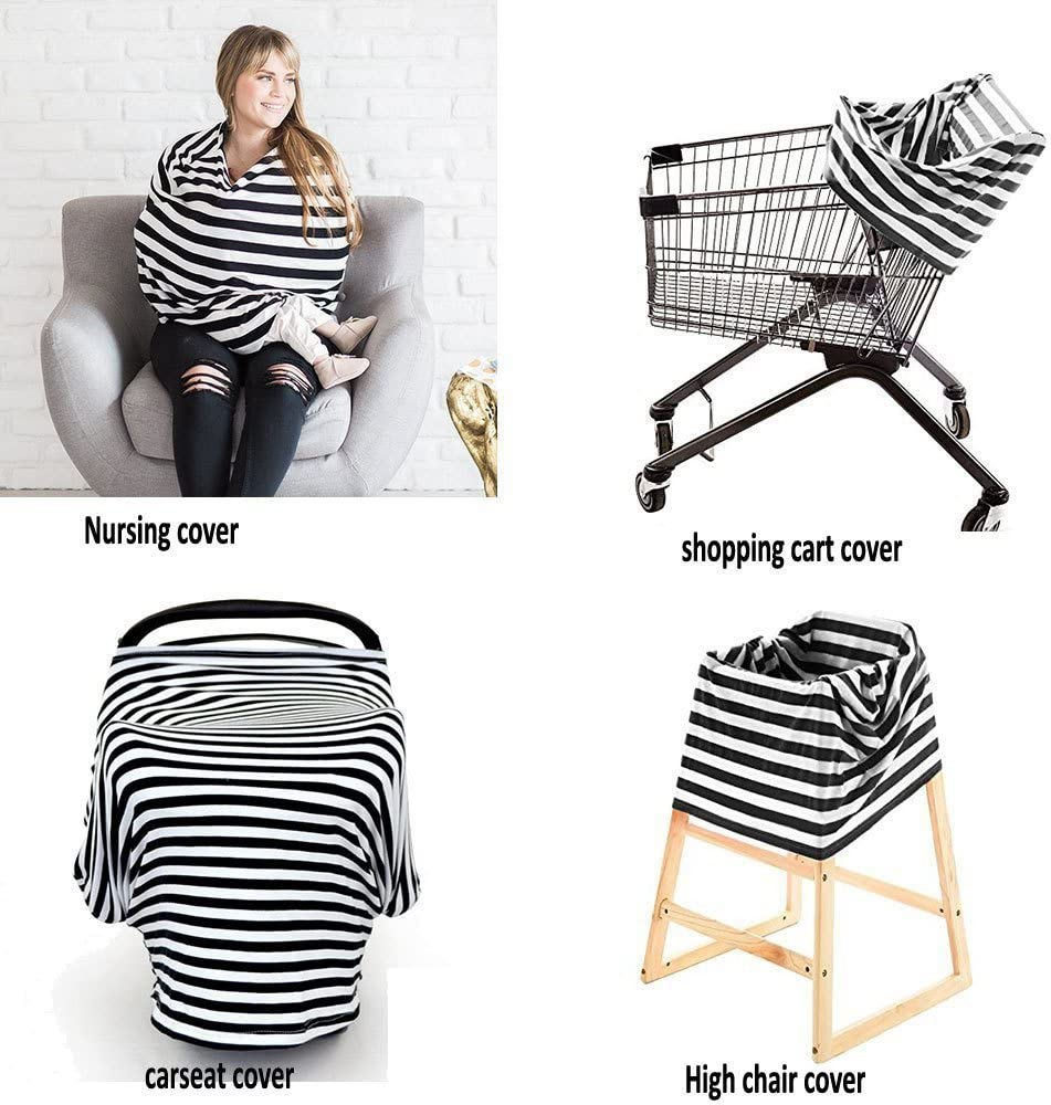 Stroller Shopping Cart Cover Scarf . NFT Multi-Use Flexible Unisex Classic Design Striped Care Nursing Cover Infinity Nursing Scarf for Breastfeeding Baby Car Seat Cover Canopy