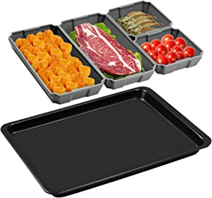 Nonstick Silicone Baking Sheet Pan Set 5 Piece, Silicone Sheets Pans Nonstick Bakeware Suitable ,Suitable for oven ,Air Fryer to Simplify Cooking,Easy Clean, Dishwasher Safe (5-piece set gray)