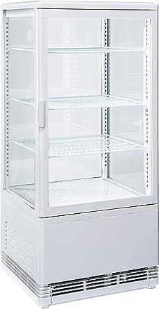 Vitrina refrigerada expositora 4 lados de cristal blanco 78 l 42,8 ...