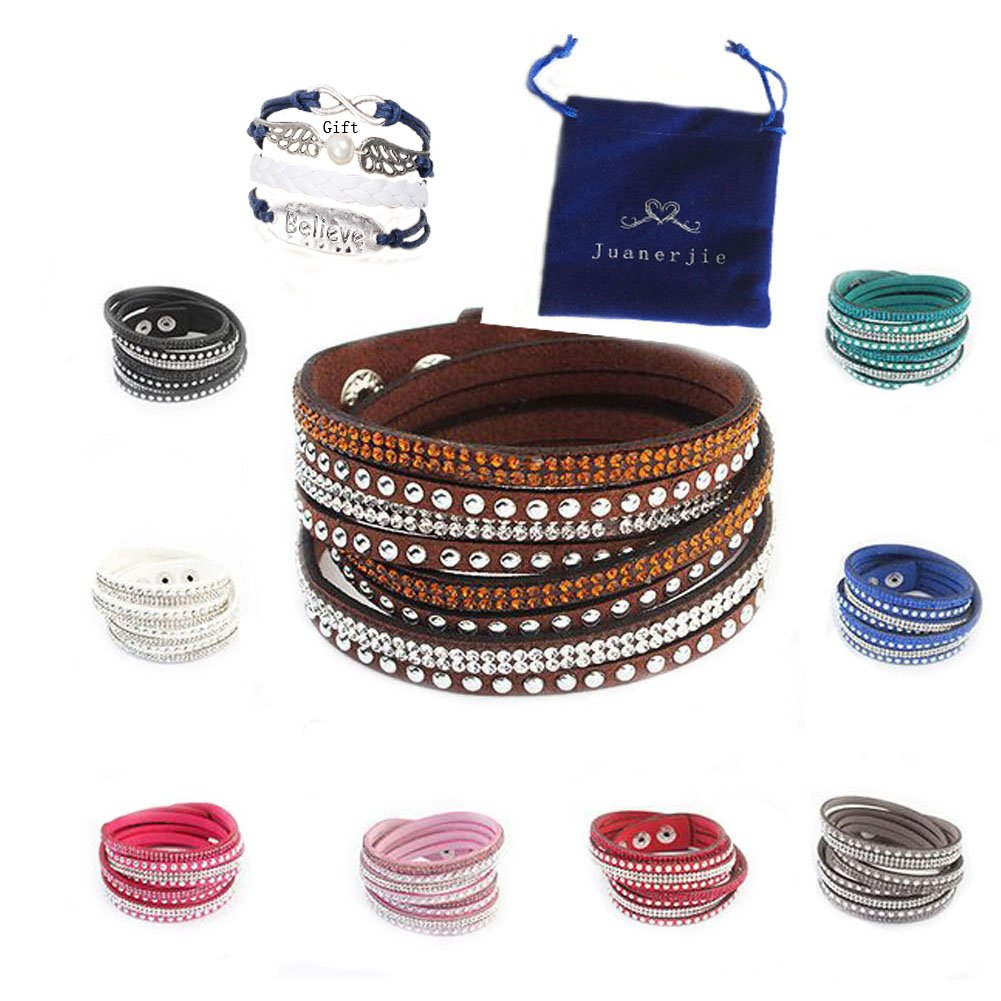 Juanerjie Women's 9 pcs Premium Crystal Slake Bracelet with Beautiful Elements, Button Clamp