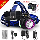 GRDE 3181 Outdoor Rechargeable LED Headlamp with 3 Modes Adjustable Thick Head Strap for Camping and Hiking, Black/Purple